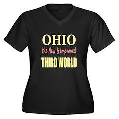 Ohio New 3rd World Women's Plus Size V-Neck Dark T
