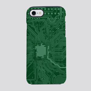 Green Geek Motherboard Circuit iPhone 7 Tough Case