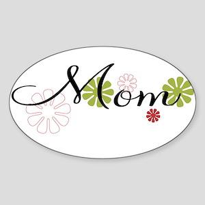 Mom Flowers Sticker (Oval)