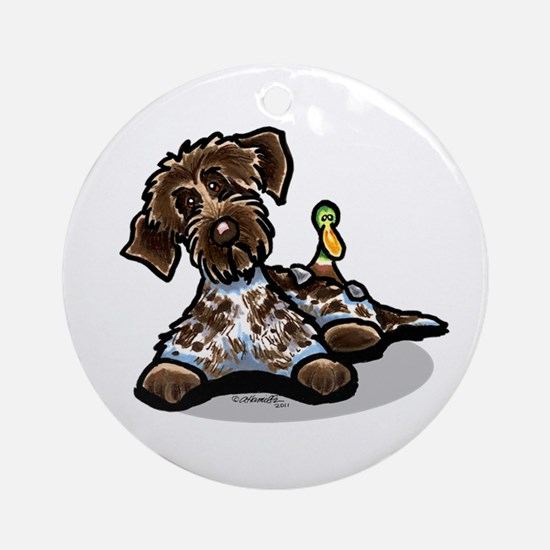 Funny Pointing Griffon Ornament (Round)