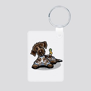 Funny Pointing Griffon Aluminum Photo Keychain