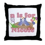 N is for Nicole Throw Pillow