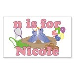 N is for Nicole Sticker (Rectangle 50 pk)