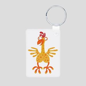 Loony Chicken Aluminum Photo Keychain