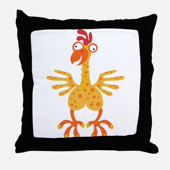 Loony Chicken Throw Pillow