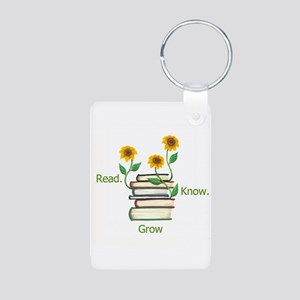 Sunflowers & Books Aluminum Photo Keychain
