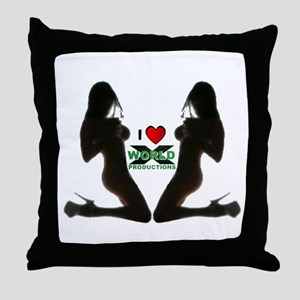 I heart World X Productions Throw Pillow