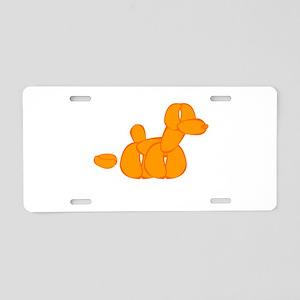 Orange Balloon Dog Poo Aluminum License Plate