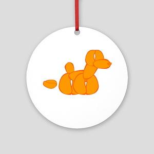 Orange Balloon Dog Poo Ornament (Round)