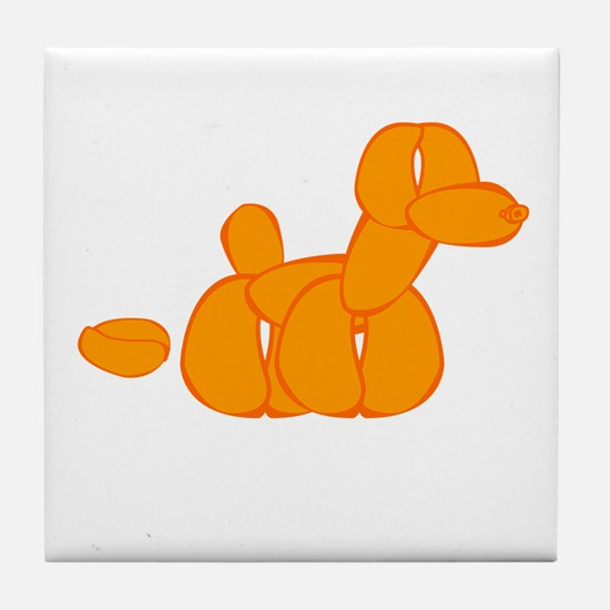 Orange Balloon Dog Poo Tile Coaster