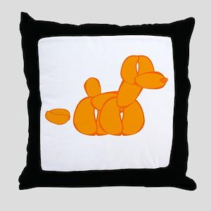 Orange Balloon Dog Poo Throw Pillow