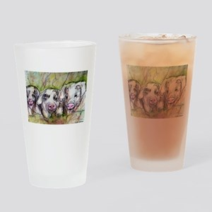 Pigs, Three, Cute, Pint Glass