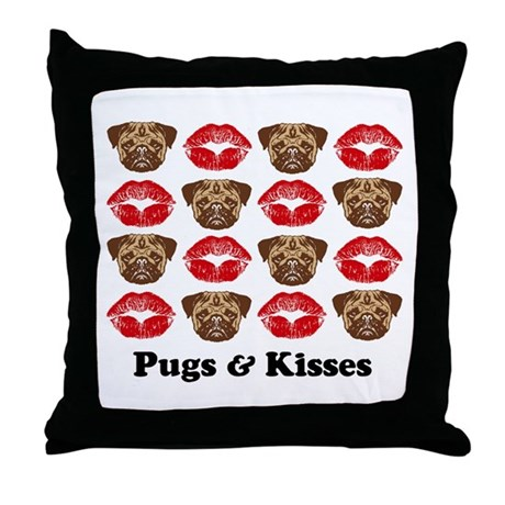 Pugs and Kisses Throw Pillow