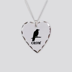 Black Crow Necklace Heart Charm