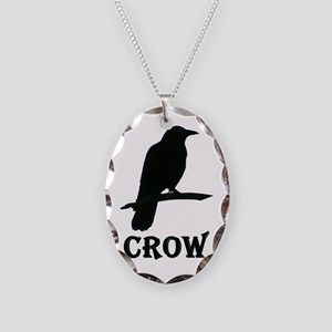 Black Crow Necklace Oval Charm