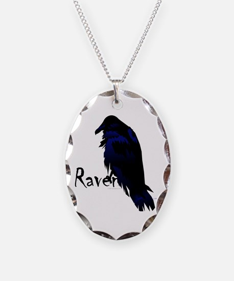 Raven on Raven Necklace Oval Charm