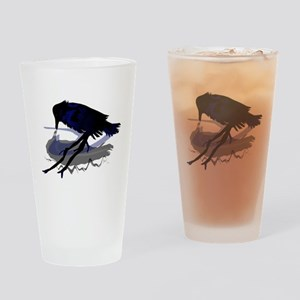 Raven Drinking with Shadow Pint Glass