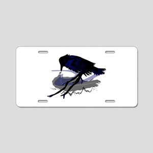 Raven Drinking with Shadow Aluminum License Plate