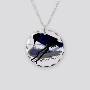 Raven Drinking with Shadow Necklace Circle Charm