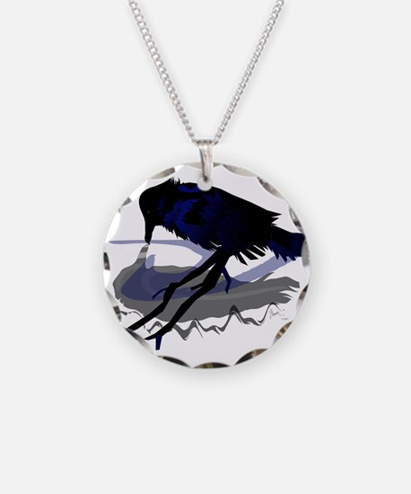 Raven Drinking with Shadow Necklace