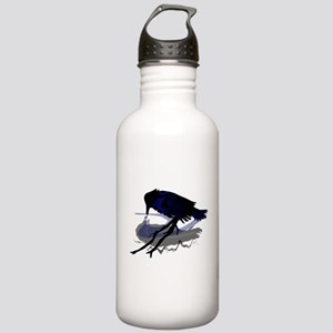 Raven Drinking with Shadow Stainless Water Bottle