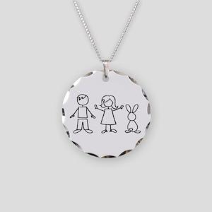 1 bunny family Necklace Circle Charm