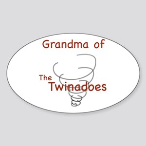 Grandma of Twinadoes Oval Sticker