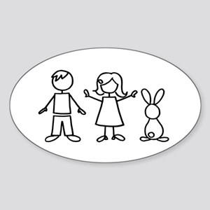 1 bunny family Sticker (Oval)