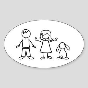 1 bunny family lop Sticker (Oval)
