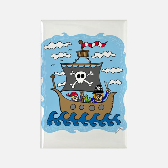 Pirate Ship Rectangle Magnet (10 pack)