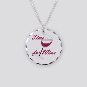 Time for Wine Necklace Circle Charm