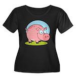 Happy Pig Women's Plus Size Scoop Neck Dark T-Shir