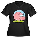 Happy Pig Women's Plus Size V-Neck Dark T-Shirt
