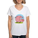 Happy Pig Women's V-Neck T-Shirt