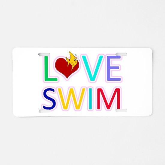 LOVE SWIM Aluminum License Plate