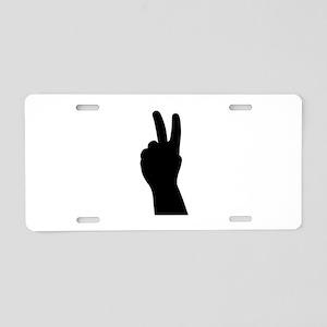 V Sign - Two Fingers Aluminum License Plate
