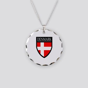 Denmark Flag Patch Necklace Circle Charm