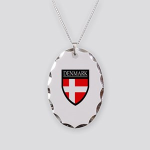 Denmark Flag Patch Necklace Oval Charm