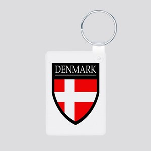 Denmark Flag Patch Aluminum Photo Keychain