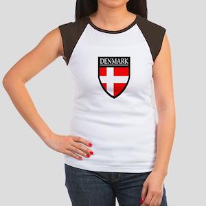 Denmark Flag Patch Women's Cap Sleeve T-Shirt
