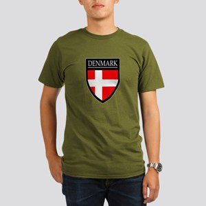 Denmark Flag Patch Organic Men's T-Shirt (dark)