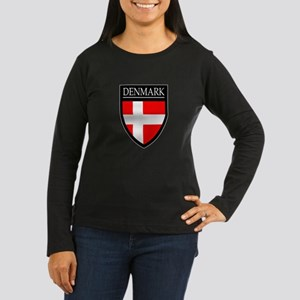 Denmark Flag Patch Women's Long Sleeve Dark T-Shir