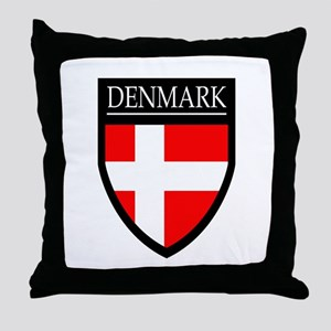 Denmark Flag Patch Throw Pillow