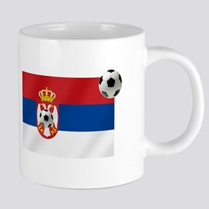 Serbia Football Flag 20 oz Ceramic Mega Mug