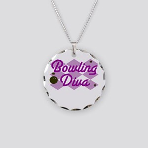 Bowling Diva Necklace Circle Charm