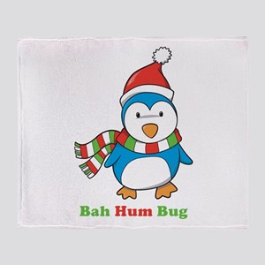 Bah Hum Bug Penguin Throw Blanket