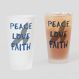 Peace Love Faith Drinking Glass