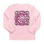 Pink Peace Symbols Long Sleeve Infant T-Shirt
