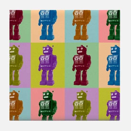 Pop Art Robots Tile Coaster