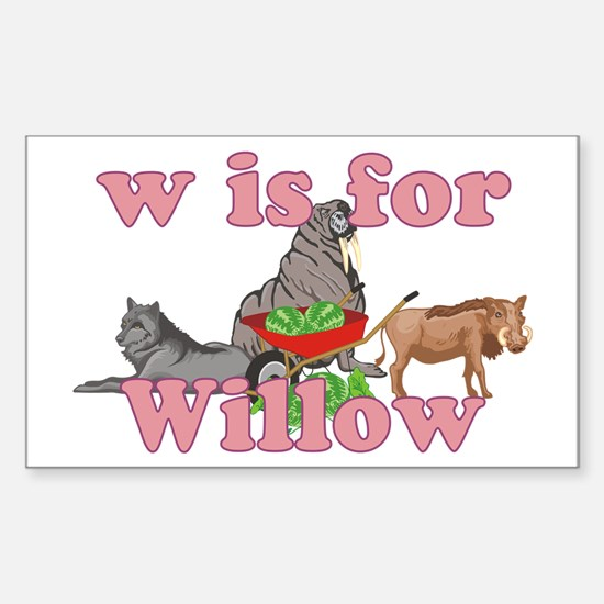 W is for Willow Sticker (Rectangle)